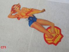VINTAGE-TIN-SIGN-SHELL-GAS-OIL-SERVICE-STATION-ADVERTISING-PIN-UP-GIRL-AWESOME !!!!  ON AUCTION THIS WEEK!!!!!!