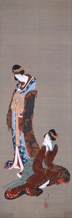 (Japan) Two beauties by Katsushika Hokusai woodblock print. Japanese Artwork, Japanese Painting, Japanese Prints, Chinese Painting, Chinese Art, Art Geisha, Geisha Kunst, Art Occidental, Art Chinois