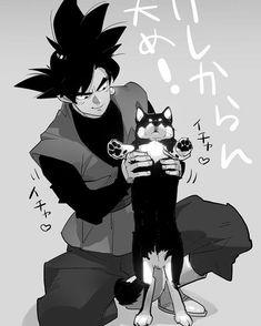 Goku Black with a puppy awww Dragon Ball Gt, Dragon Ball Z Shirt, Black Goku, Zamasu Fusion, Dragonball Super, Super Vegeta, Zamasu Black, Vegito Y Gogeta, Dbz Characters