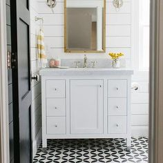 White Bathroom with Yellow Accents, Transitional, Bathroom