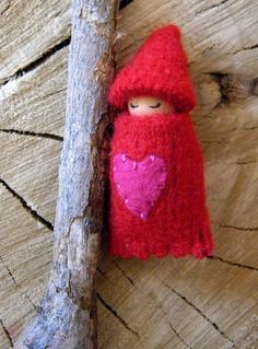 Valentine Gnome Baby, Valentine's Day, Waldorf Toy, Ornament, Necklace, Pink Heart, Waldorf Baby, Wearable Doll, Winter, Red, Hot Pink.