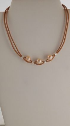 Necklace in Sterling Silver, Soft Pink Freshwater Pearls and Natural Leather