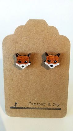 Fox Post Earrings on Mahogany Wood - Laser Engraved with Titanium Stud - Hand Painted White Laser Art, Laser Cut Wood, Laser Cutting, Wooden Earrings, Wooden Jewelry, Biscuit, Fall Jewelry, Plexus Products, Laser Engraving