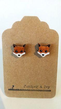 Fox on Mahogany Wood Laser Engraved and Cut Post by JuniperandIvy