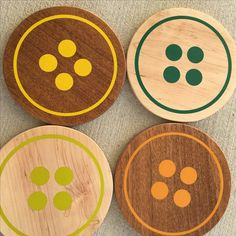 Maple and mahogany trivets with colored epoxy