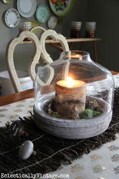 Turn a terrarium into a fun centerpiece eclecticallyvintage.com #EclecticallyFall