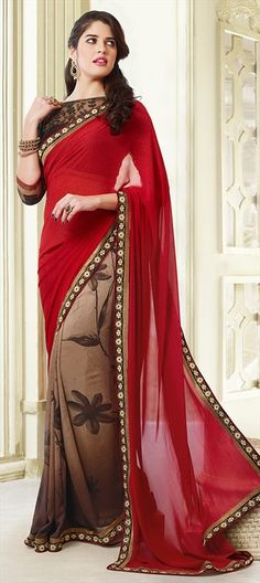 142049: Red and Maroon, Beige and Brown color family Saree with matching unstitched blouse.