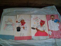 Black Americana tea towels