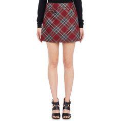 Maison Margiela Plaid Miniskirt (10 310 ZAR) ❤ liked on Polyvore featuring skirts, mini skirts, red, short skirts, short red skirt, wool mini skirt, red mini skirt and tartan skirt