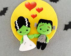 Halloween Decor Bride of Frankenstein Creepy Cute Doll Halloween Ornaments Toy Felt Halloween Gift Baby Shower Favors Halloween Decorations