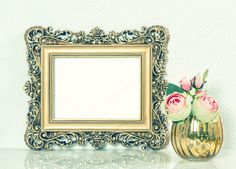 Bolden picture frame with flowers by LiliGraphie on Creative Market