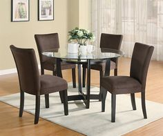 Dining Room: Simple White Rug Base Under Round Dining Room Set With Glass Table Also Comfy Brown Chairs, Homeyapt