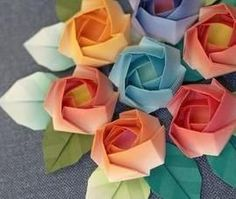 - Papierfaltkunst – Origami Rose - origami – coolle bastelideen - Origami Rose, Instruções Origami, Origami And Kirigami, Origami Bookmark, Origami Bird, Paper Crafts Origami, Origami Folding, Paper Folding, Christmas Origami