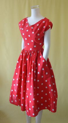 Adorable 1950s Sun Dress / 50s Day Dress / Red by HepCatVintageUK