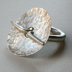 ring sterling silver hand forged   one-off piece by gloria carlos