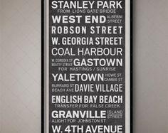 London England Vintage Bus Roll Sign Typographic by FoundryCo Vintage Poster, Vintage Prints, Vintage Decor, Tour Eiffel, Retro Bus, Place Vendôme, Vancouver Canucks, Lodge Decor, Canada