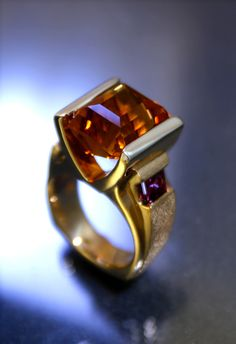Citrine and Amethyst ring by Art Metals Studio.