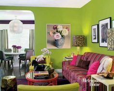 Green Paint And Pink Cushions For Living Room Design Living Room Green,  Green Rooms,