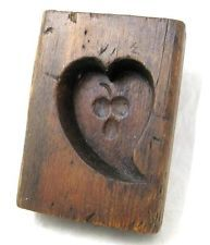 Antique 1925 HEART & CHERRIES SUGAR MOLD AAFA Treenware Folk Art Primitive