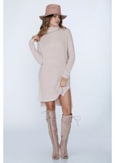 Cotton Candy Sweater Tunic in Peach//