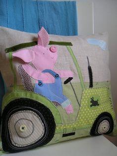 JOHN PIG tractor - linen pillow cover