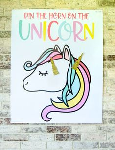 Pin the horn on the unicorn. Its a LARGE file, so a professional print shop, FedEx or Kinkos is a must. This listing is for PRINTABLE Pin The Horn On the Unicorn Game: Beach Party Games, Tween Party Games, Princess Party Games, Backyard Party Games, Dinner Party Games, Graduation Party Games, Halloween Party Games, Sleepover Party, Luau Party