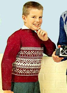 NEW! Student Leader Boat Neck Sweater knit pattern from Family Favorites in Hand Knits, Coats & Clark's Book No. 123, from 1961.