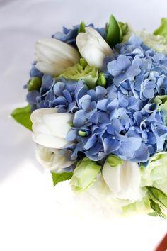 blue hydrangea and white tulip bouquet - Google Search                                                                                                                                                      More