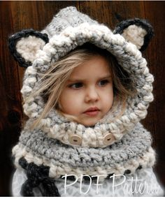 Crochet PATTERN-The Woodlynn Wolf Cowl (Toddler, Child, Adult sizes) also can be Made to Order