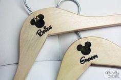 Bridal shower gift? Disney Themed Standard Hanger set for Bride's wedding dress and Groom's Tux/Suit - Wooden. $25.00, via Etsy.