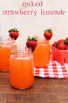 This spiked strawberry limeade is the perfect summer cocktail! It's the ideal drink to serve at bridal showers, BBQs, and summer brunch! #donthesitaste #ad