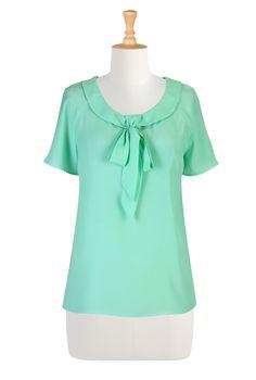 aquamarine tie neck blouse