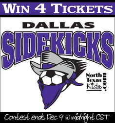 Dallas Sidekicks Ticket Giveaway - North Texas Kids - WIN TICKETS TO Dec 14th home game