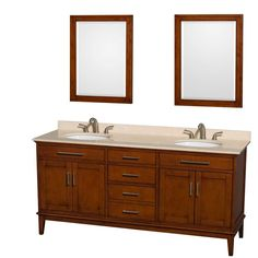 Wyndham Collection Hatton 72 in. Double Vanity in Light Chestnut with Marble Vanity Top in Ivory, Sink with and 24 in. Mirrors