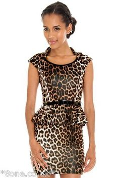 9a7ac6c4c8 Goddess London Animal Print Peplum Belted Dress
