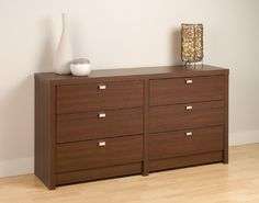 Prepac Warm Cherry Series 9 Designer 6 Drawer Dresser, Red