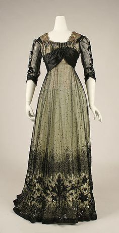 c1908 Ball gown; American, silk, cotton, glass and metallic thread. http://www.metmuseum.org/collection/the-collection-online/search/106490#
