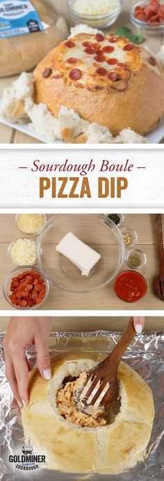 Sourdough Boule Pizza Dip: Movie night, football night, game night...Friday night. When isn't pizza on the menu? This easy appetizer turns that party favorite food into a delectable dip, served in a hollowed out California Goldminer Sourdough Boule. That hearty texture was made for holding oodles of cheese and pizza sauce and mini pepperoni!