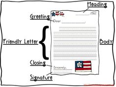 Learn the parts of a friendly letter by using this little brace map in addition to the cute writing paper included in President's Day ELA Common Core + MORE! unit at http://fanaticallyfirstgrade.blogspot.com/.