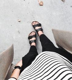   minimalist   black and white stripes, birkenstocks, minimal style