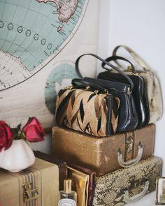 My bedroom dresser. Photographed by Lauren Bamford for Yen Magazine. Vintage Suitcases, Vintage Luggage, Vintage Bags, Vintage Love, Vintage Handbags, Travel Suitcases, Vintage Trunks, Interior And Exterior, Interior Design