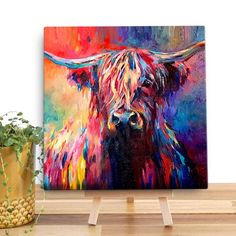 Highland Cow wooden canvas forms part of our range of beautifully vibrant canvases by artist Sue Gardner. Check out our gallery-quality canvases! Matt canvas stretched over FSC wood. Cow Paintings On Canvas, Acrylic Painting Canvas, Abstract Canvas, Painting Abstract, Highland Cow Painting, Highland Cow Canvas, Mini Highland Cow, Colorful Animal Paintings, Scottish Cow