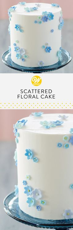 This spring-themed cake would be a lovely treat for Easter! Scatter various shades of blue fondant flowers all over your cake to create this effortless look #wiltoncakes #cakes #cakeideas #easter #eastercakes #easterideas #easterdesserts #inspiration #springbaking #buttercream #flower #fondant