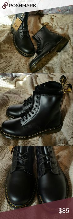 🕇 Doc Marten's 1460 Black Smooth 8-Eye Lace Boot Heya guys! These Docs are absolutely incredible, NWT, never worn, black leather beauties. They're unisex: UK size 9, Women's size 11 and Men's size 10. Bought these a while back and missed the return window. Nothing at all wrong with them they just weren't what I was looking for (oops)  On to the tags!  ♤ Alternative Style, Industrial Goth, Punk Fashion, Rocker Chic, Fall Weather, Signature AirWair ♤ Dr. Martens Shoes Combat & Moto Boots