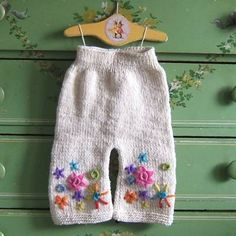 White Embroidered Flower Wool Longies