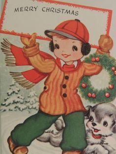 VINTAGE CHRISTMAS GREETING CARD 1940'S BOY ICE SKATES & HIS PUPPY UNUSED
