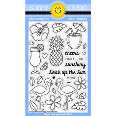 Sunny Studio Stamps Tropical Paradise 4x6 Pineapple, Flamingo & Coconut Drink Photo-Polymer Clear Stamp Set