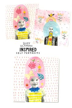 A contemporary self portrait project for all ages inspired by the whimsical illustrations of Suzy Ultman. Self Portrait Kids, Portraits For Kids, Creative Self Portraits, Painting For Kids, Art For Kids, Projects For Kids, Art Projects, Art Lessons Elementary, Kids Art Lessons