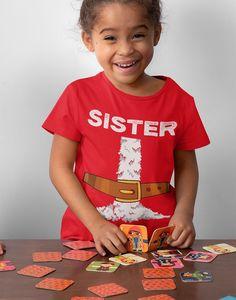 Kids Sister Santa T Shirt Holiday Pajama Shirt Matching Christmas Pajamas Santa Costume Tee Fun Kris Kringle Christmas Eve Shirt