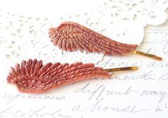 Rose Gold Feather Angel Wing Hair Pins  Angel by NestingPretty